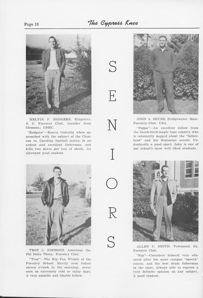 The Cypress Knee, 1952, Seniors, Melvin R. Rodgers, Troy L. Simmons, John A. Skuse, Allen C. Smith, pg. 16