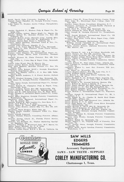 The Cypress Knee, 1952, Alumni Directory (continued), Corley Manufacturing Co., pg. 59