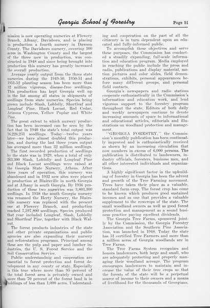 "The Cypress Knee, 1952, ""State Forestry Comes of Age in Georgia"" (continued), pg. 51"