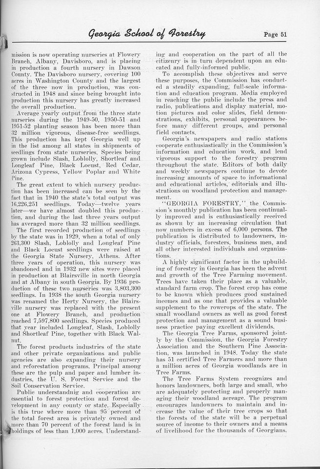 """The Cypress Knee, 1952, """"State Forestry Comes of Age in Georgia"""" (continued), pg. 51"""