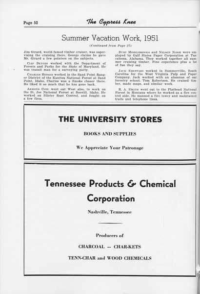 "The Cypress Knee, 1952, ""Summer Vacation Work, 1951"" (continued), The University Stores, Tennessee Products and Chemicals Corporation, pg. 52"