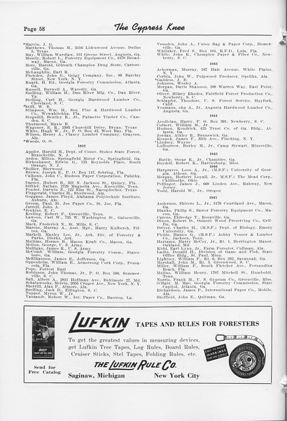The Cypress Knee, 1952, Alumni Directory (continued), The Lufkin Rule Co., pg. 58