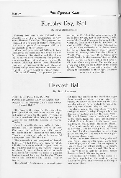 "The Cypress Knee, 1952, ""Forestry Day, 1951"", Burt Middlebrooks, ""Harvest Ball"", Bill Thompson, pg. 30"