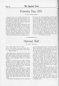 "The Cypress Knee, 1952, ""Forestry Day, 1951"", Burt Middlebrooks, ""Harvest Ball"", Bill Thompson, pg. 30"