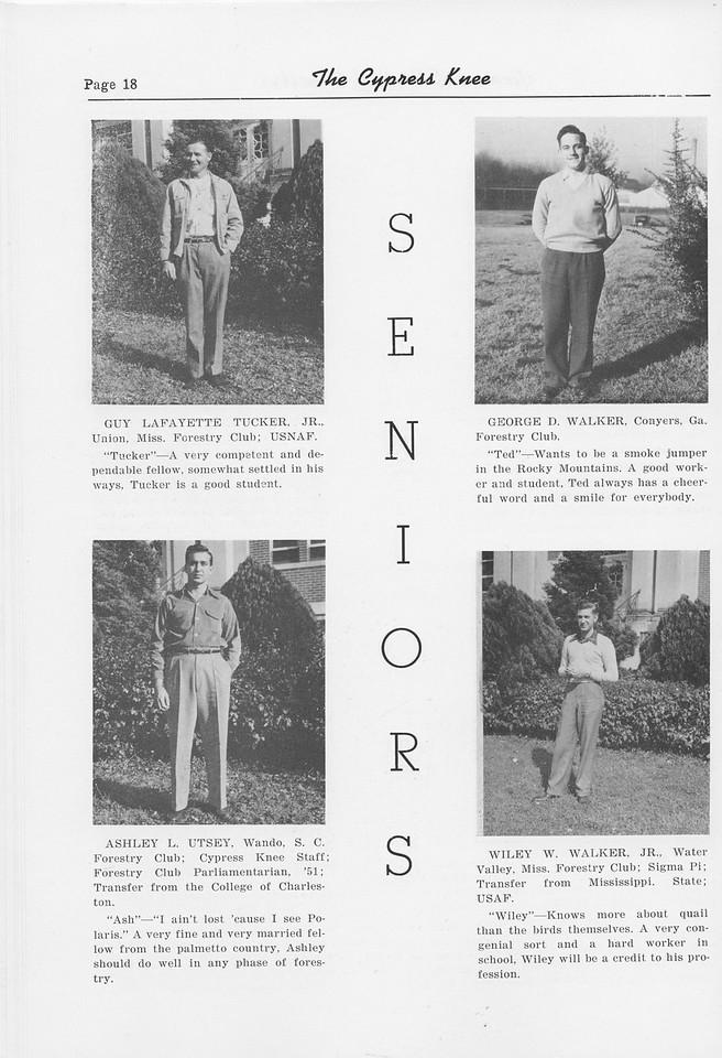 The Cypress Knee, 1952, Seniors, Guy LaFayette Tucker, George D. Walker, Ashley L. Utsey, Wiley W. Walker, pg. 18