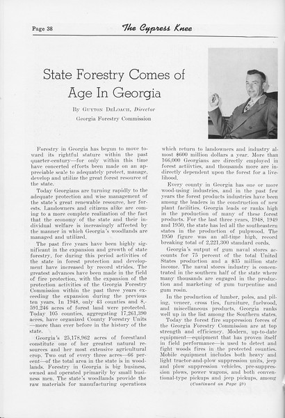 "The Cypress Knee, 1952, ""State Forestry Comes of Age in Georgia"", Guyton DeLoach, pg. 38"