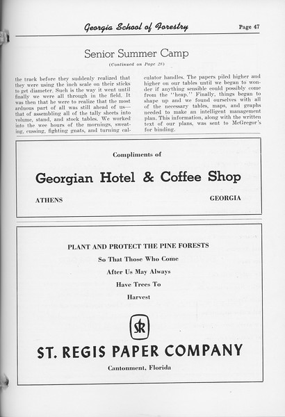 "The Cypress Knee, 1952, ""Senior Summer Camp"" (continued), Georgian Hotel and Coffee Shop, St. Regis Paper Company, pg. 47"