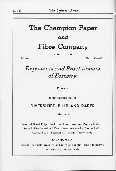 The Cypress Knee, 1952, The Champion Paper and Fibre Company, pg. 48