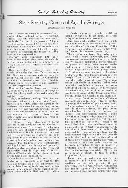 "The Cypress Knee, 1952, ""State Forestry Comes of Age in Georgia"" (continued), pg. 49"
