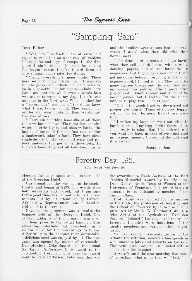"""The Cypress Knee, 1952, """"Sampling Sam"""", """"Forestry Day, 1951"""" (continued), pg. 36"""