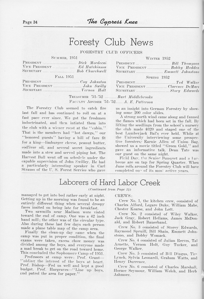 """The Cypress Knee, 1952, """"Forestry Club News"""", """"Laborers of Hard Labor Creek"""" (continued), pg. 34"""