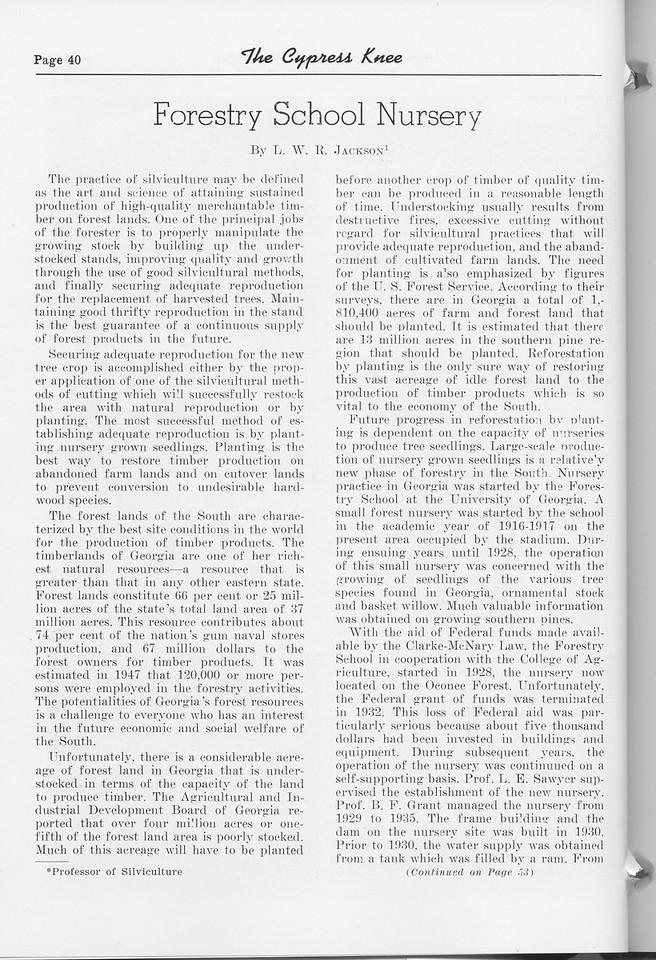 "The Cypress Knee, 1952, ""Forestry School Nursery"", L. W. R. Jackson, pg. 40"