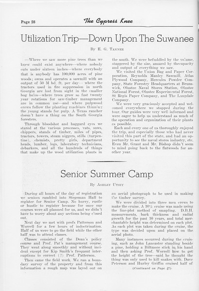 "The Cypress Knee, 1952, ""Utilization Trip- Down Upon the Suwanee"", E. G. Tanner, ""Senior Summer Camp"", Ashley Utsey, pg. 28"
