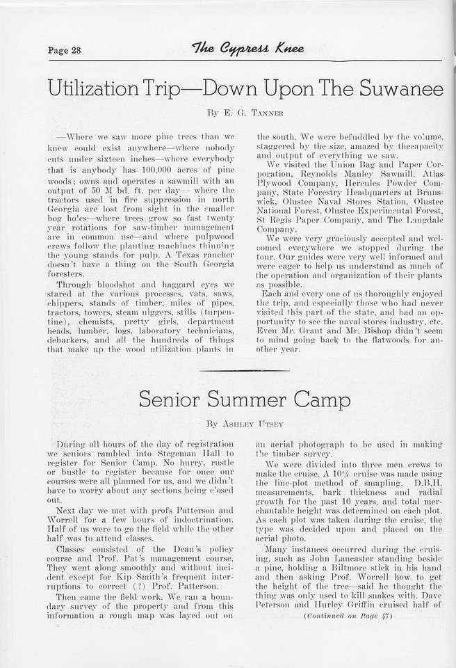 "The Cypress Knee, 1952, ""Utilization Trip- Down Upon the Suwanee"", E. G. Tanner, ""Senior Summer Camp"", Ashley Utsey, pg. 28"