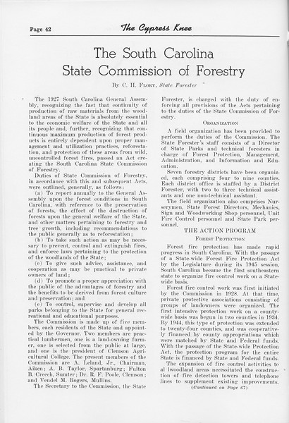 "The Cypress Knee, 1952, ""The South Carolina State Commission of Forestry"", C. H. Flory, pg. 42"