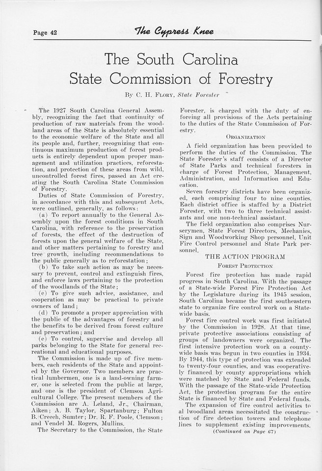 """The Cypress Knee, 1952, """"The South Carolina State Commission of Forestry"""", C. H. Flory, pg. 42"""