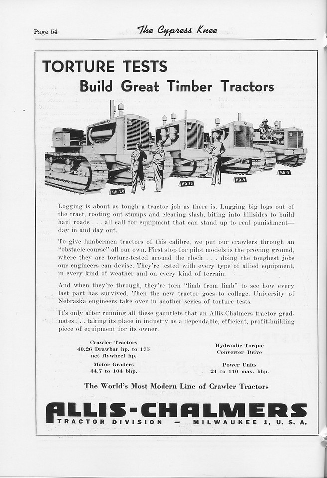The Cypress Knee, 1952, Allis-Chalmers Tractor Division, pg. 54