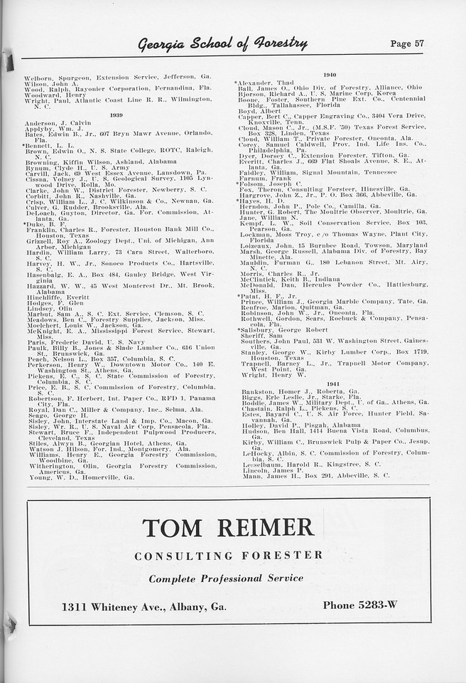 The Cypress Knee, 1952, Alumni Directory (continued), Tom Reimer, pg. 57