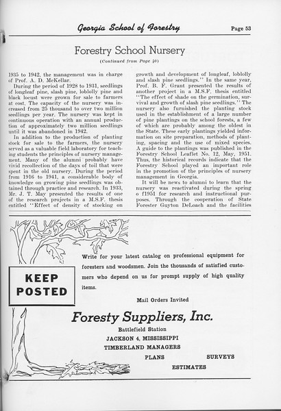 "The Cypress Knee, 1952, ""Forestry School Nursery"" (continued), Forestry Suppliers Inc., pg. 53"