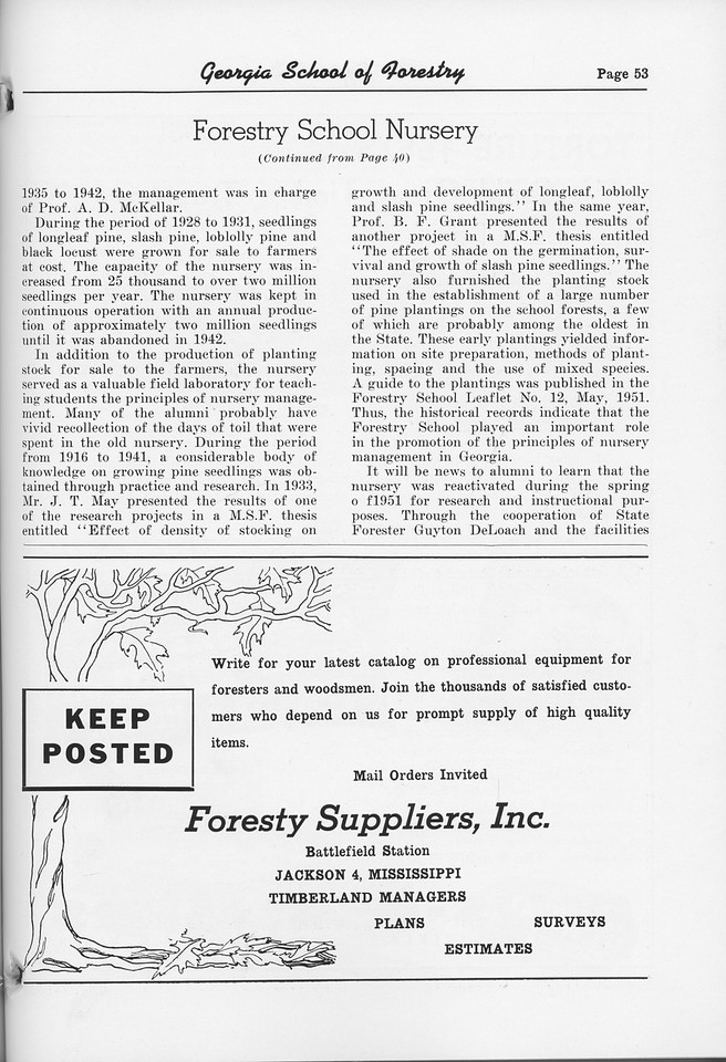 """The Cypress Knee, 1952, """"Forestry School Nursery"""" (continued), Forestry Suppliers Inc., pg. 53"""