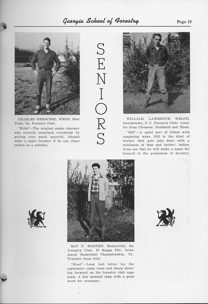 The Cypress Knee, 1952, Seniors, Charles Herschel Webb, William Lawrence Welch, Roy F. Wooten, pg. 10