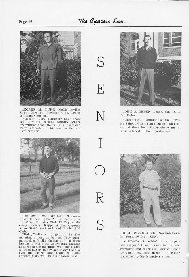 The Cypress Knee, 1952, Seniors, Legare M. Duke, Robert Roy Dunlap, John S. Green, Hurley J. Griffin, pg. 12