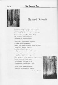 """The Cypress Knee, 1952, """"Burned Forests"""", S. Omar Barker, pg. 22"""