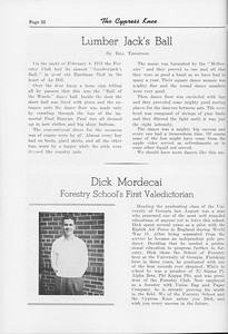 """The Cypress Knee, 1952, """"Lumber Jack's Ball"""", Bill Thompson, """"Dick Mordecai- Forestry School's First Valedictorian"""", pg. 32"""