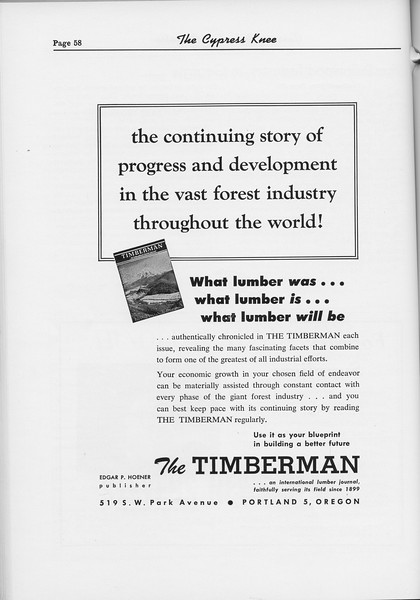 The Cypress Knee, 1954, The Timberman, pg. 58