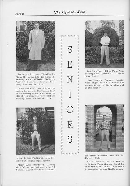 The Cypress Knee, 1954, Seniors, Logan Reid Patterson, Allan J. Rue, Don Amos Seery, Joe Myers Stanford, pg. 16