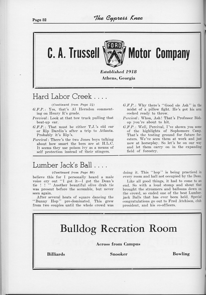 "The Cypress Knee, 1954, ""Hard Labor Creel..."" (continued), ""Lumber Jack's Ball..."" (continued), Bulldog Recreation Room, C. A. Trussell Motor Company, pg. 52"