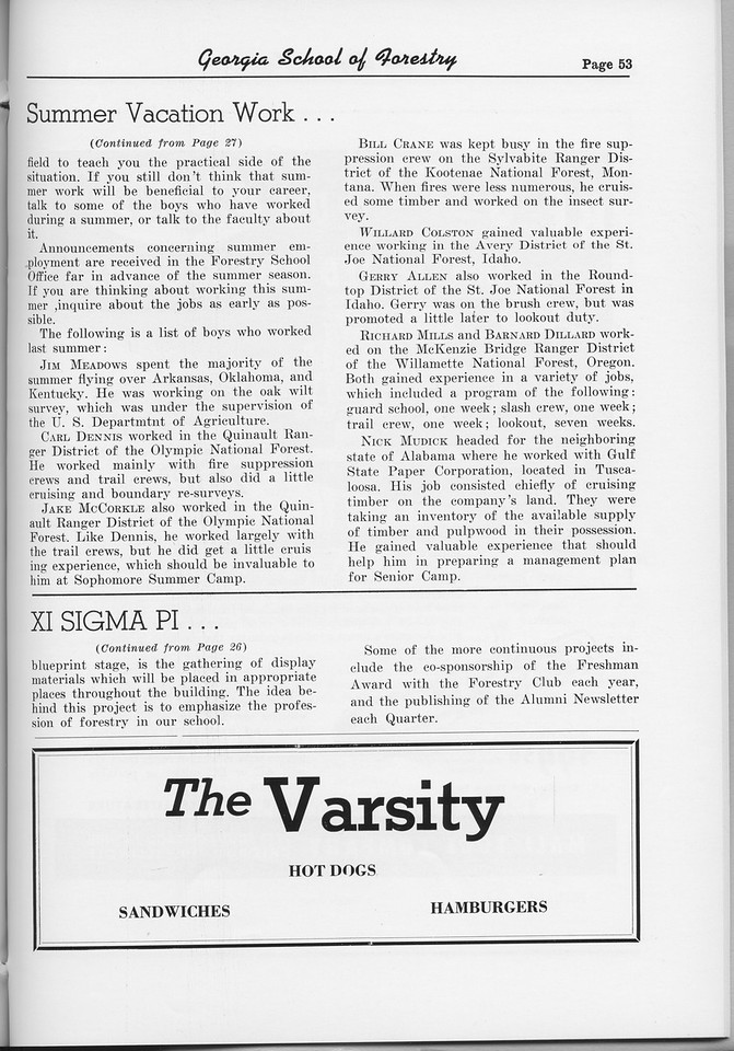 "The Cypress Knee, 1954, ""Summer Vacation Work..."" (continued), Xi Sigma Pi (continued), The Varsity, pg. 53"