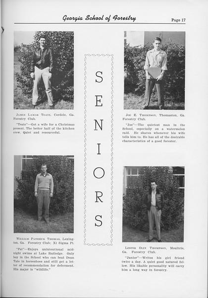 The Cypress Knee, 1954, Seniors, James Lamar Teate, William Paterick Thomas, Joe E. Thompson, Lester Olin Thompson, pg. 17