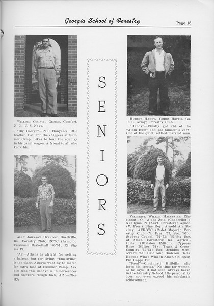 The Cypress Knee, 1954, Seniors, William Council George,  Alan Johnson Herndon, Hubert Handy, Frederick William Haeussler
