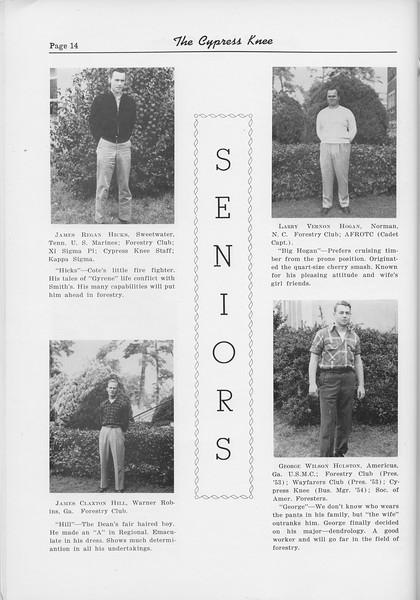 The Cypress Knee, 1954, Seniors, James Regan Hicks, James Claxton Hill, Larry Vernon Hogan, George Wilson Holston, pg. 14