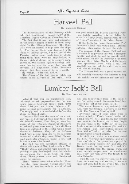 "The Cypress Knee, 1954, ""Harvest Ball"", Malcolm Dillard, ""Lumberjack's Ball"", Bob Churchwell, pg. 30"