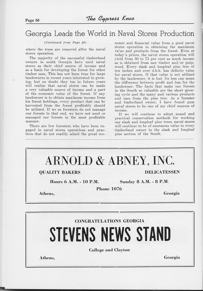 "The Cypress Knee, 1954, ""Georgia Leads the World in Naval Stores Production"" (continued), Arnold and Abney Inc., Stevens News Stand, pg. 56"