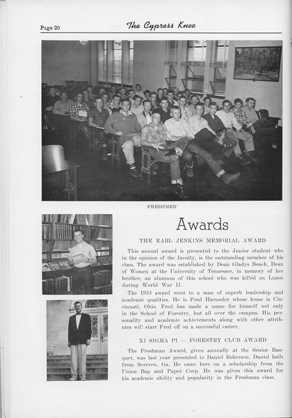The Cypress Knee, 1954, Freshman Class, The Earl Jenkins Memorial Award, Fred Haeussler, Xi Sigma Pi, Daniel Roberson, pg. 20