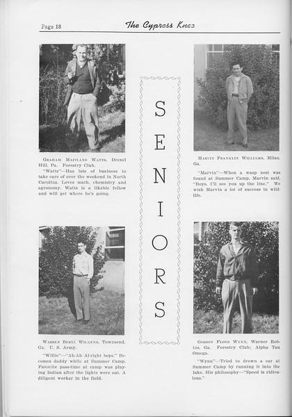 The Cypress Knee, 1954, Seniors, Graham Maitland Watts, Warren Beryl Wilkens, Marvin Franklin Williams, Gordon Floyd Wynn, pg. 18