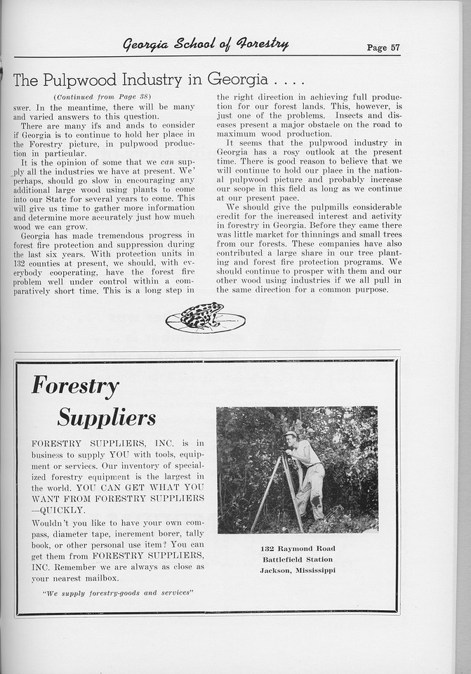 "The Cypress Knee, 1954, ""The Pulpwood Industry in Georgia..."" (continued), Forestry Suppliers Inc., pg. 57"