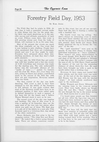 "The Cypress Knee, 1954, ""Forestry Field Day, 1953"", Earl Jones, pg. 28"