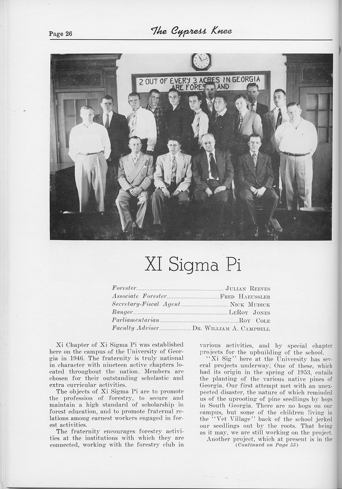 The Cypress Knee, 1954, Xi Sigma Pi, pg. 26