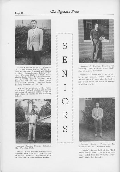 The Cypress Knee, 1954, Seniors, Henry Richard Darden, Arthur Carlton Dennis, Merell C. Elliot, Charles Bennett Fulghum, pg. 12