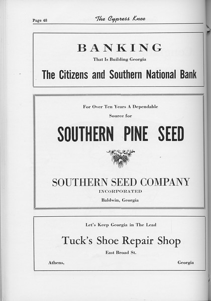 The Cypress Knee, 1954, The Citizens and SOuthern National Bank, Souhern Seed Company, Tuck's Shoe Repair Shop, pg. 48