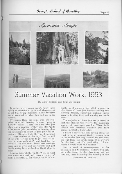 "The Cypress Knee, 1954, ""Summer Vacation Work, 1953"", pg. 27"