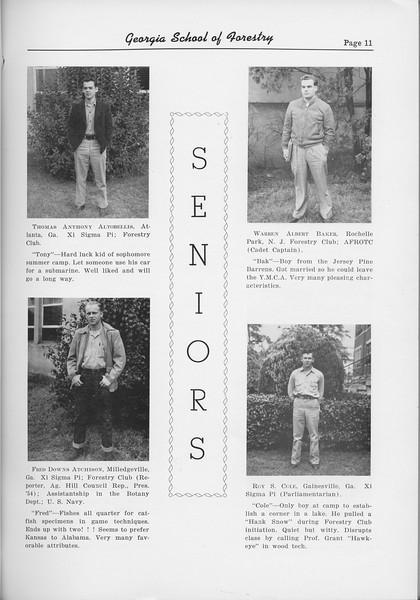The Cypress Knee, 1954, Seniors, Thomas Anthony Autobellis, Fred Downs Avchison, Warren Albert Baker, Roy S. Cole, pg. 11