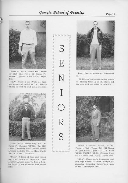 The Cypress Knee, 1954, Seniors, Earle P. Jones, Leroy Jones, Billy Gerald Middleton, Nicholas Mudick, pg. 15