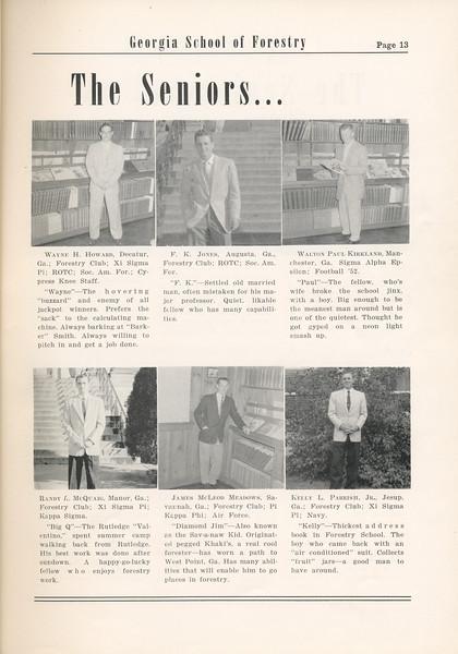 The Cypress Knee, 1955, Seniors, Wayne H. Howard, F. K. Jones, Walton Paul Kirkland, Randy L. McQuaig, James McLeod, Kelly L. Parrish, pg. 13