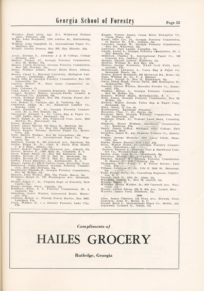 The Cypress Knee, 1955, Alumni Directory (continued), Hailes Grocery, pg. 53