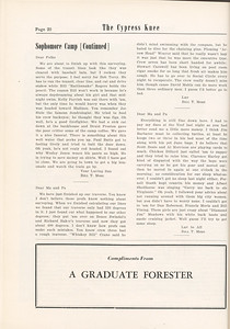 """The Cypress Knee, 1955, """"Sophomore Summer Camp"""" (continued), pg. 20"""